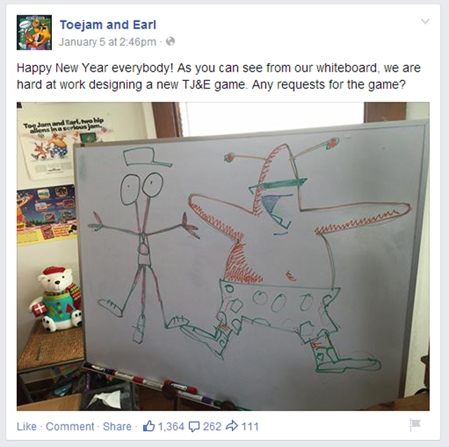ToeJam and Earl Facebook Post