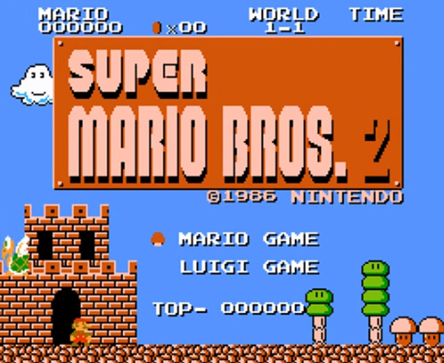 Super Mario Bros 2 title screen Japan