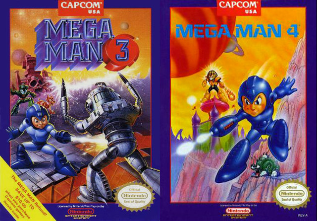 Mega Man 3 and 4 Box Art