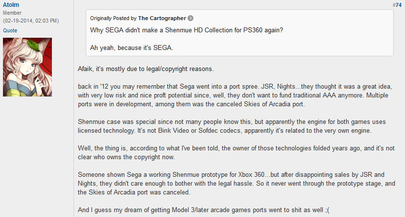 neogaf shenmue post