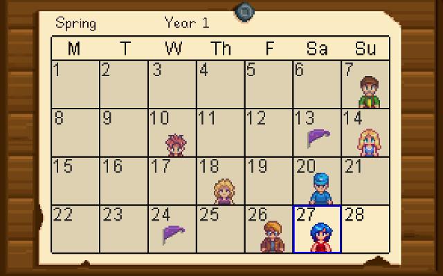 Stardew Valley Spring Calendar