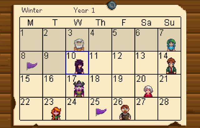 Stardew Valley Winter Calendar
