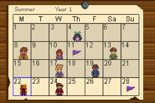 Stardew Valley Summer Calendar