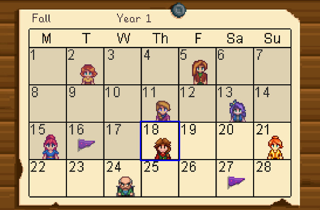 Stardew Valley Fall Calendar
