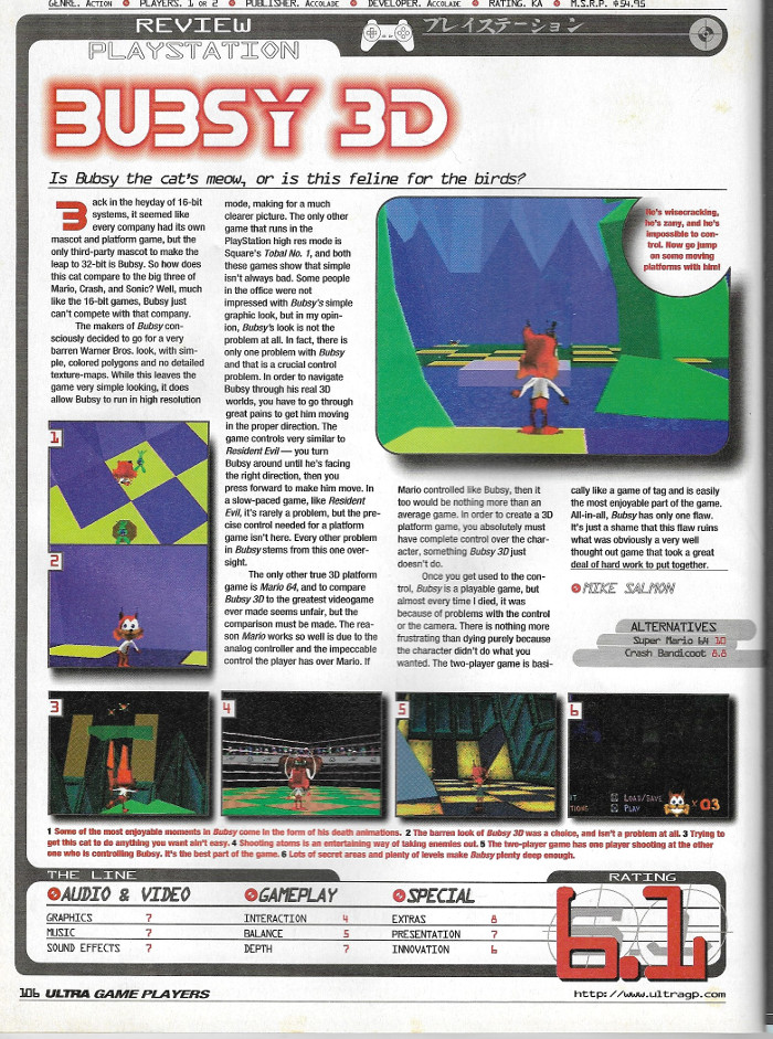 Bubsy 3D - Ultra Game Players