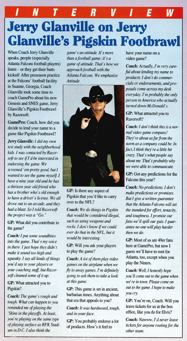 Jerry Glanville GamePro Interview